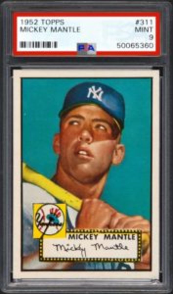 This 1952 Topps Mickey Mantle #311, graded PSA Mint 9, set a new auction record for the issue by selling for $2.88 million in April 2018. (Image courtesy PSA)