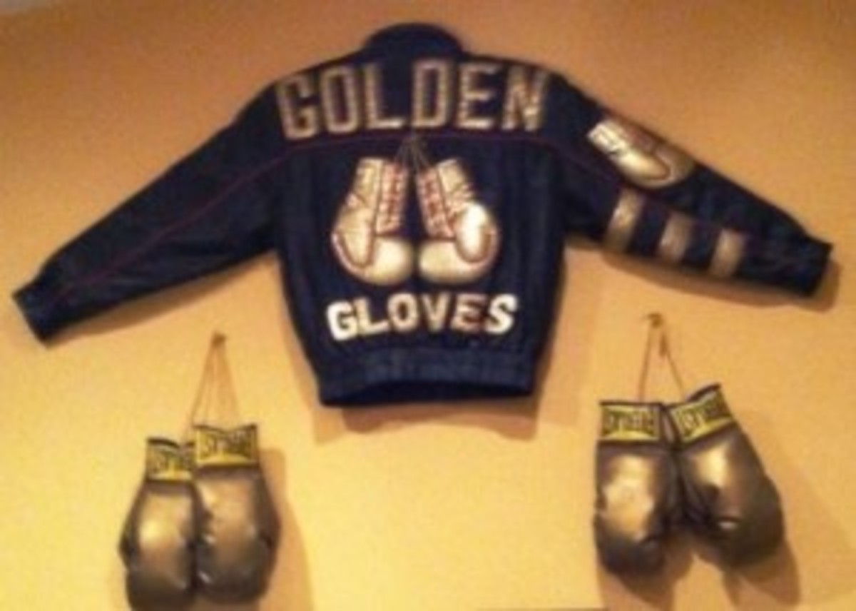 Golden Gloves leather jacket was brought by Rick Norton of Noblesville, Ind., priced at $2,500, at the fall show.