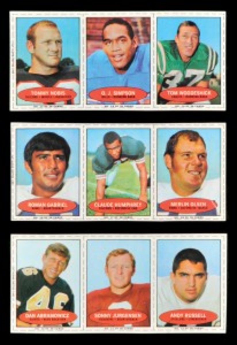 "The 1971 Bazooka set saw players featured in three-card panels, with 12 in all. The cards are smaller and feature basic ""head shot"" photos."