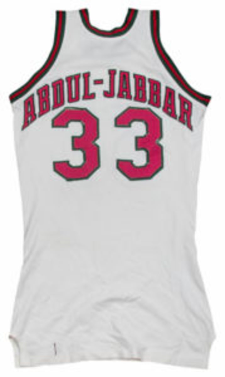This Kareem Abdul-Jabbar jersey is being sold in a Goldin Auctions sale. (Image courtesy Goldin Auctions)