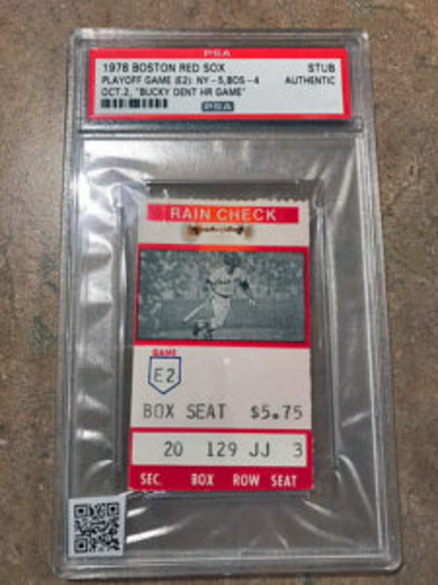 The QR code for this ticket takes a collector to video of Bucky Dent's famous playoff game home run against the Boston Red Sox in 1978.