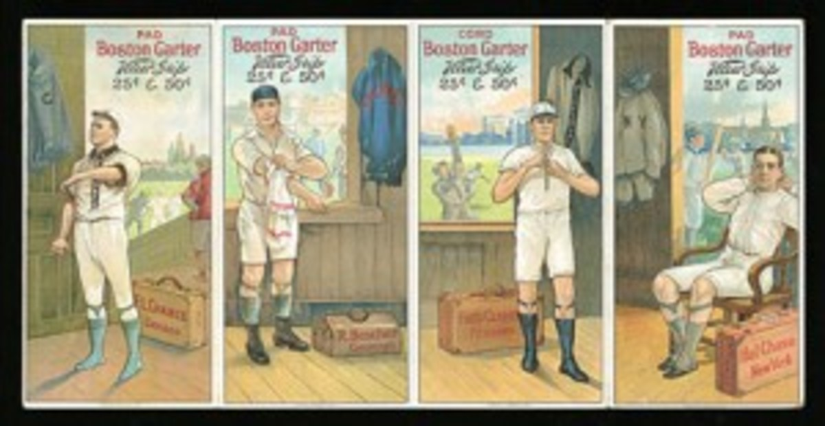 1912 Boston Garter uncut panel of four cards, including Frank Chance and Fred Clarke (reserve: $50,000; estimate: $100,000+). This is the only uncut panel of four Boston Garters known to exist.