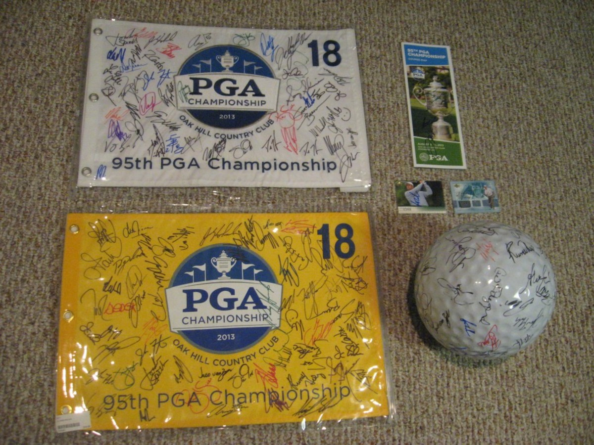 The haul from the PGA Championship was vast. The ceramic golf ball was a bit hit with the golfers. Another big hit was acquiring a few souvenirs from the merchandise tent in which to get signed.