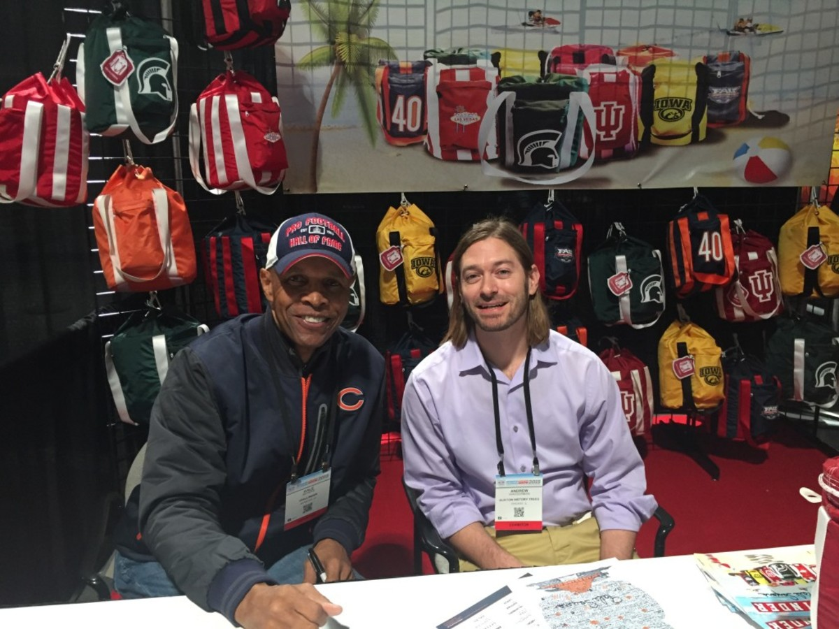 Andrew Wasserman, right, is the main artist behind the Burton History Trees, and Gale Sayers, left, is helping to promote the product.