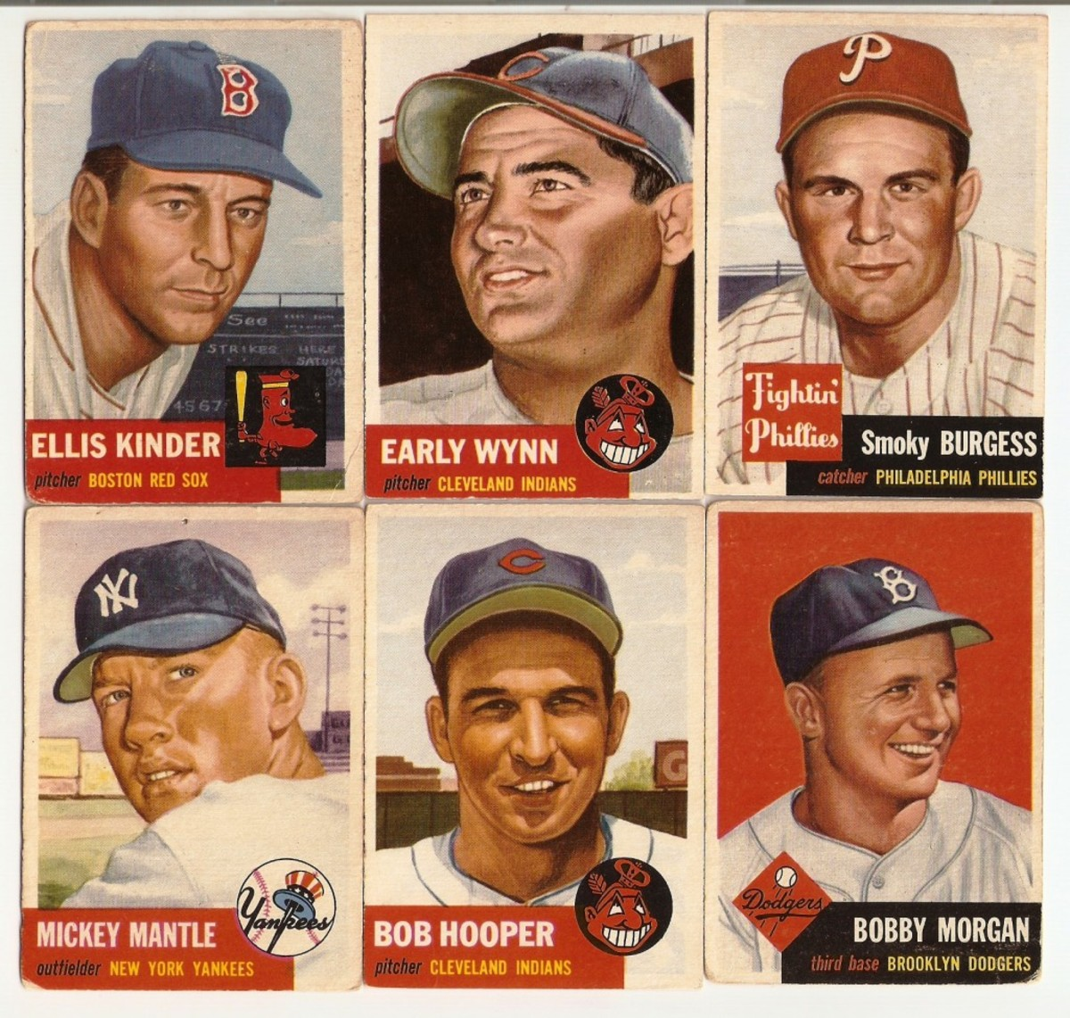 Was it Mantle at #82 which caused Topps to trade out three like-aligned cards? Kinder, Wynn and Burgess were replaced by Mantle, Hooper and Morgan. Perhaps Topps wanted us to look for some missing numbers and buy more cards to find them?