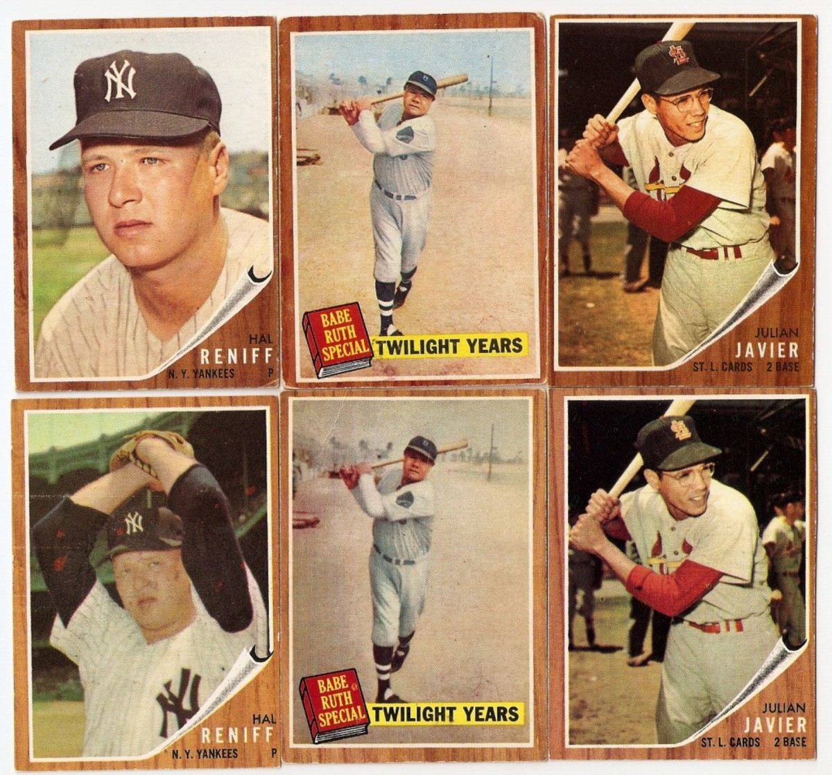 The second print run of 1962 Topps cards were printed by two different printers resulting in variations in poses, a distinct green tint from one printer and differences in how images were cropped.