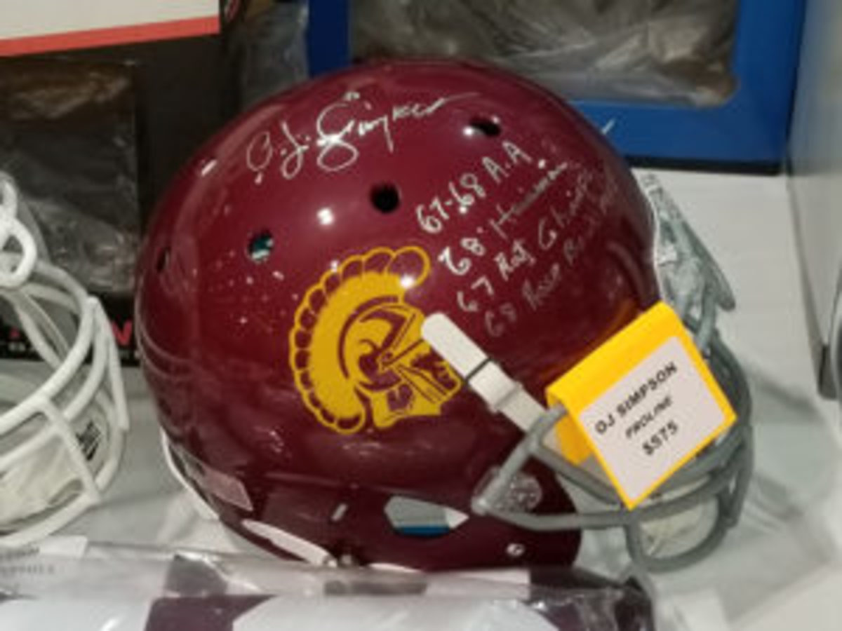 A dealer was asking $575 for this O.J. Simpson autograph and inscribed helmet.