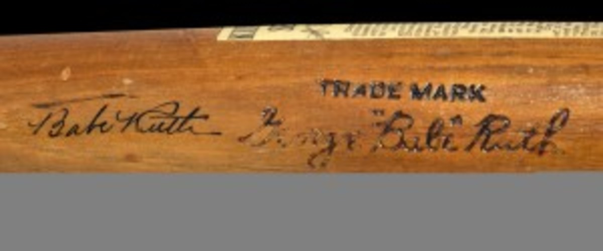Bat autographed by Babe Ruth