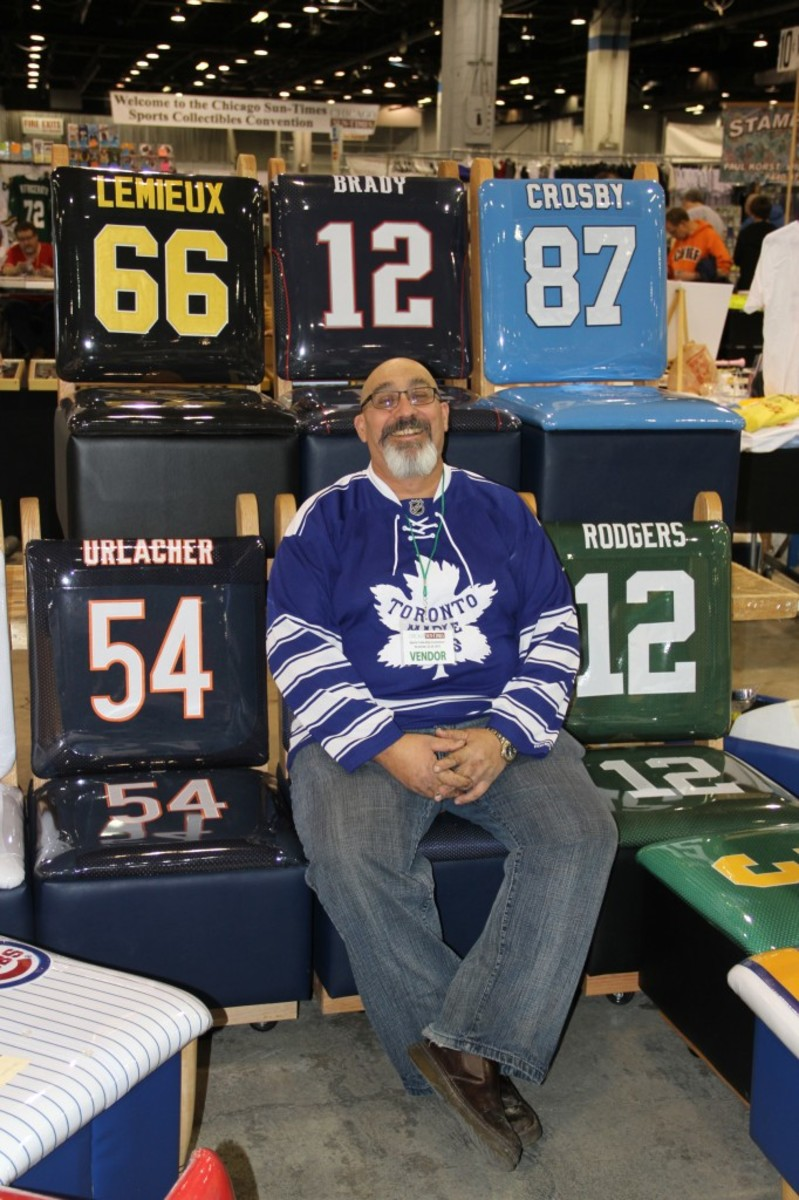 Got some jerseys that no longer fit? The Greatest Seat can outfit some chair or love seats with them. Owner Tom Lenardi holds eight patents for the product.