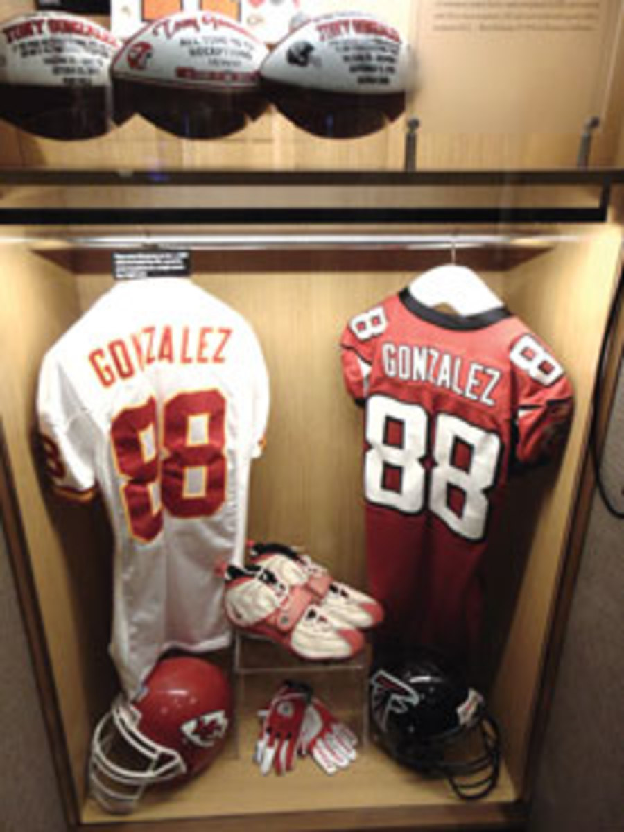 "Tony Gonzalez's ""locker"" on display during Hall of Fame weekend."