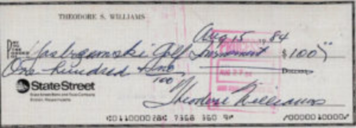 A check signed by Ted Williams in 1984.