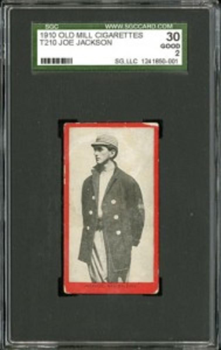 1910 T210 Old Mill Joe Jackson (reserve: $25,000; estimate: $50,000+).