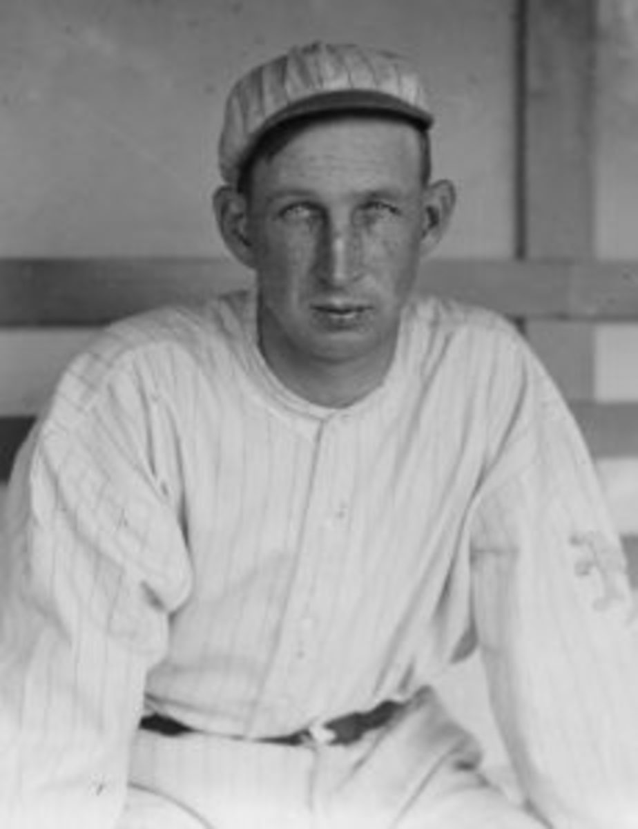 Eddie Grant, seen here in a New York Giants uniform, was the first, and most prominent, former Major League ballplayer to be killed in action during the war. Grant had already retired from baseball and was working as a lawyer when war was declared. (Photo courtesy Library of Congress)