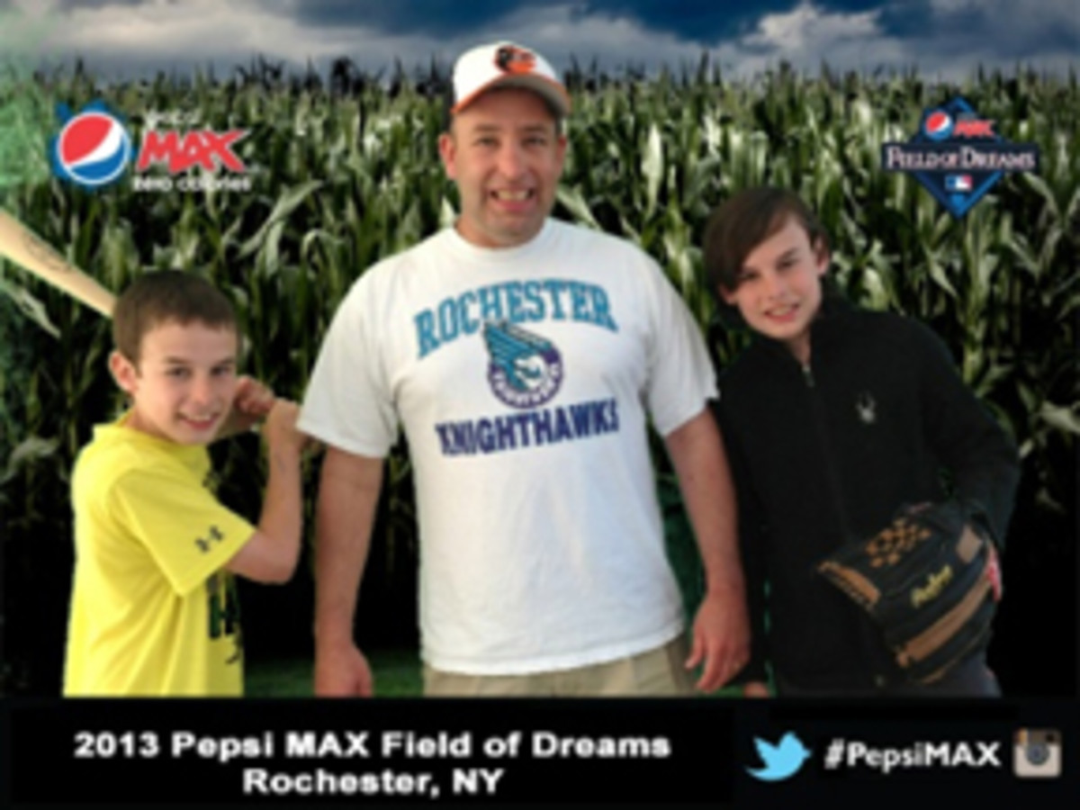 One of the best parts of the Pepsi Max Field of Dreams event was getting a free photo. Here are the Talbot boys: Dalton, Tom and Devon. All and all, a great family event, despite the lack of autograph signers.