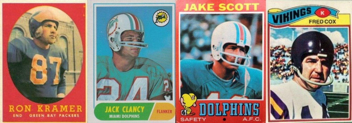 Topps used an old photo of Ron Kramer in his University of Michigan helmet. Fellow Wolverine Jack Clancy showed off his Dolphin helmet (sans chin strap) in his 1968 card. Scott's 1971 Dolphin helmet was airbrushed, but didn't look too bad. Fred Cox's 1977 airbrushed Viking helmet looked strange.