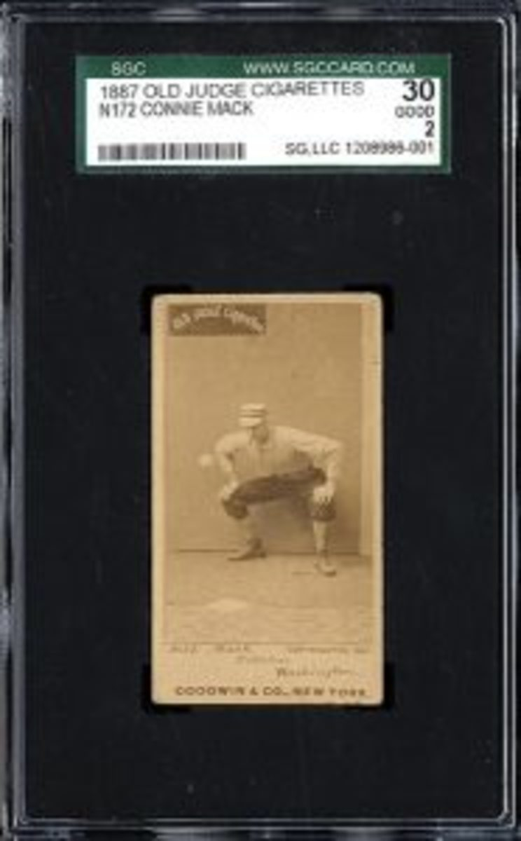 Mack appeared in the fabled Old Judge set in the late 1800s and appeared in mainstream cards through the 1940s.