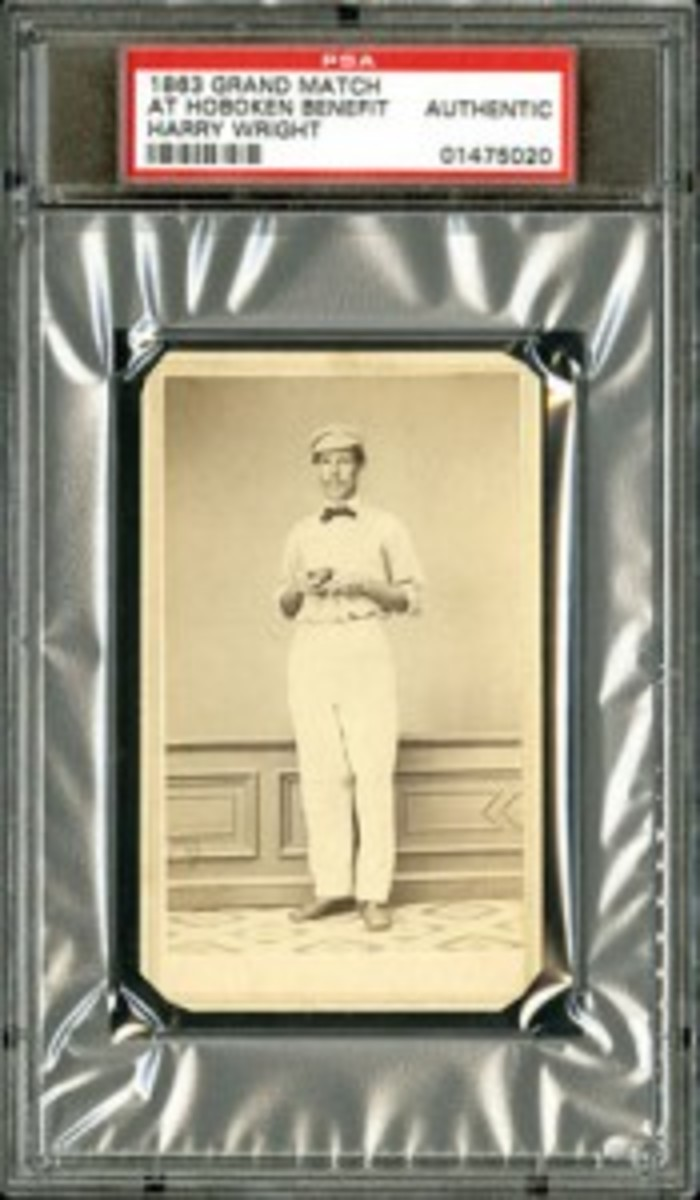 """1863 Grand Match At Hoboken Benefit Card of Harry Wright: """"The First Baseball Card"""" (reserve: $50,000; estimate: open)."""