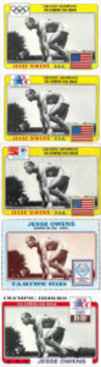 Jesse Owens appeared in Topps-produced sets such as this issue in five different formats.
