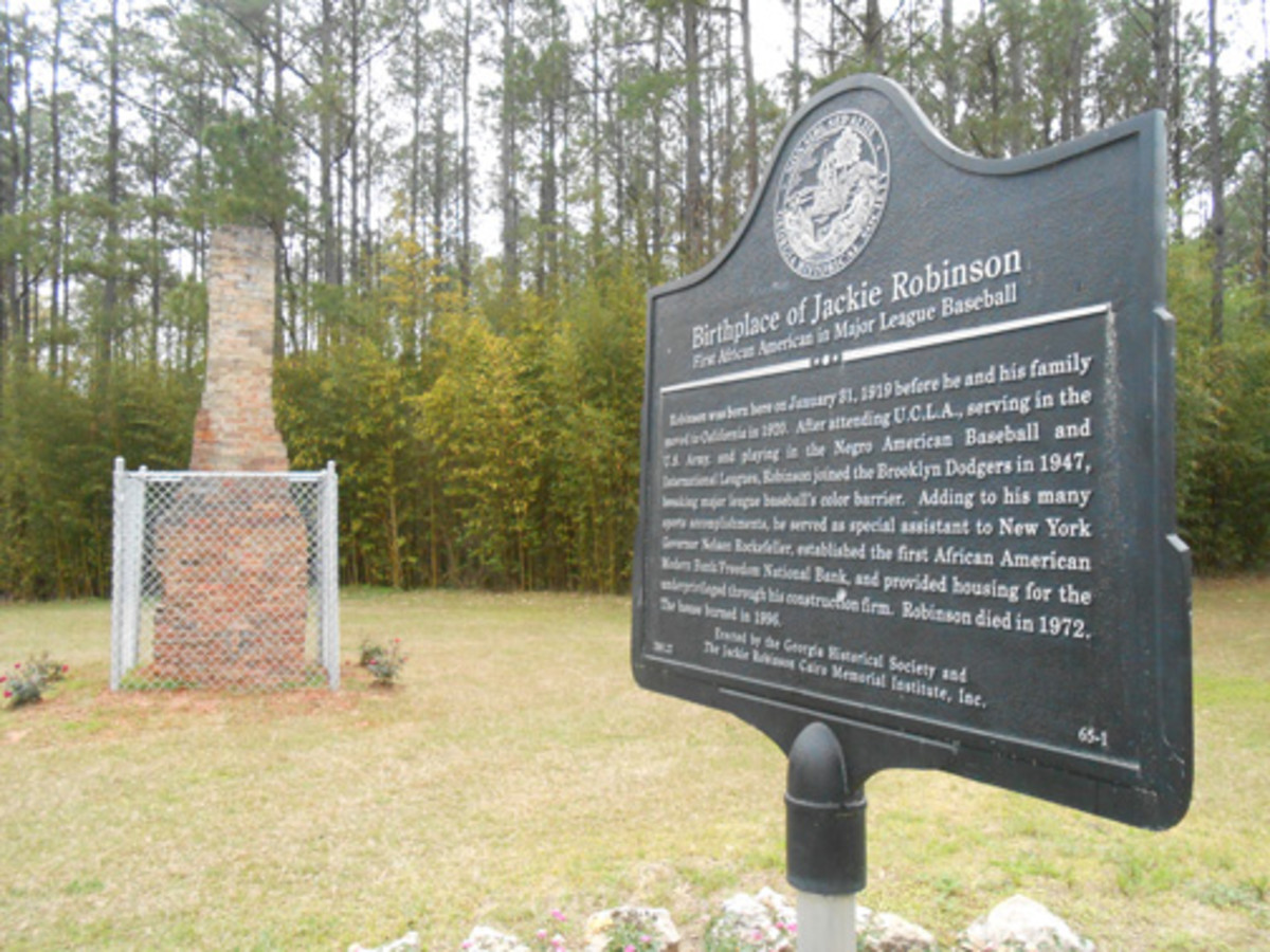 Jackie Robinson's birthplace outside of Cairo, Ga., is hard to find and marked with a simple plaque near the original chimney to the home.