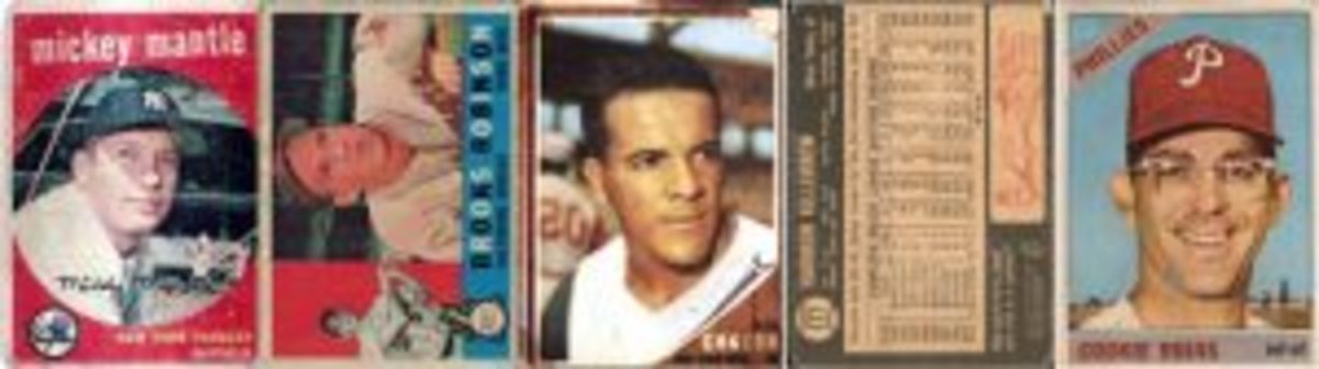 Topps Venezuelan cards from 1959, 1960, 1962, 1964 and 1966. Mickey Mantle appeared in 1959, 1962, 1964 and 1966. Chacon's card (No. 199) was created just for the 1962 Venezuelan set to replace card No. 196. The 1964 cards had black borders on the back and no scratch-off quiz.