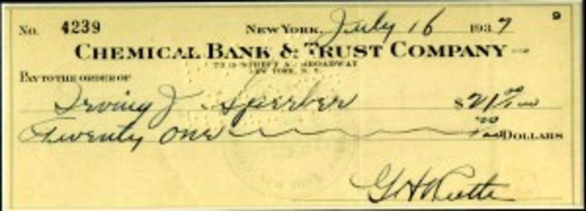 1937 Babe Ruth Check Signed GH Ruth