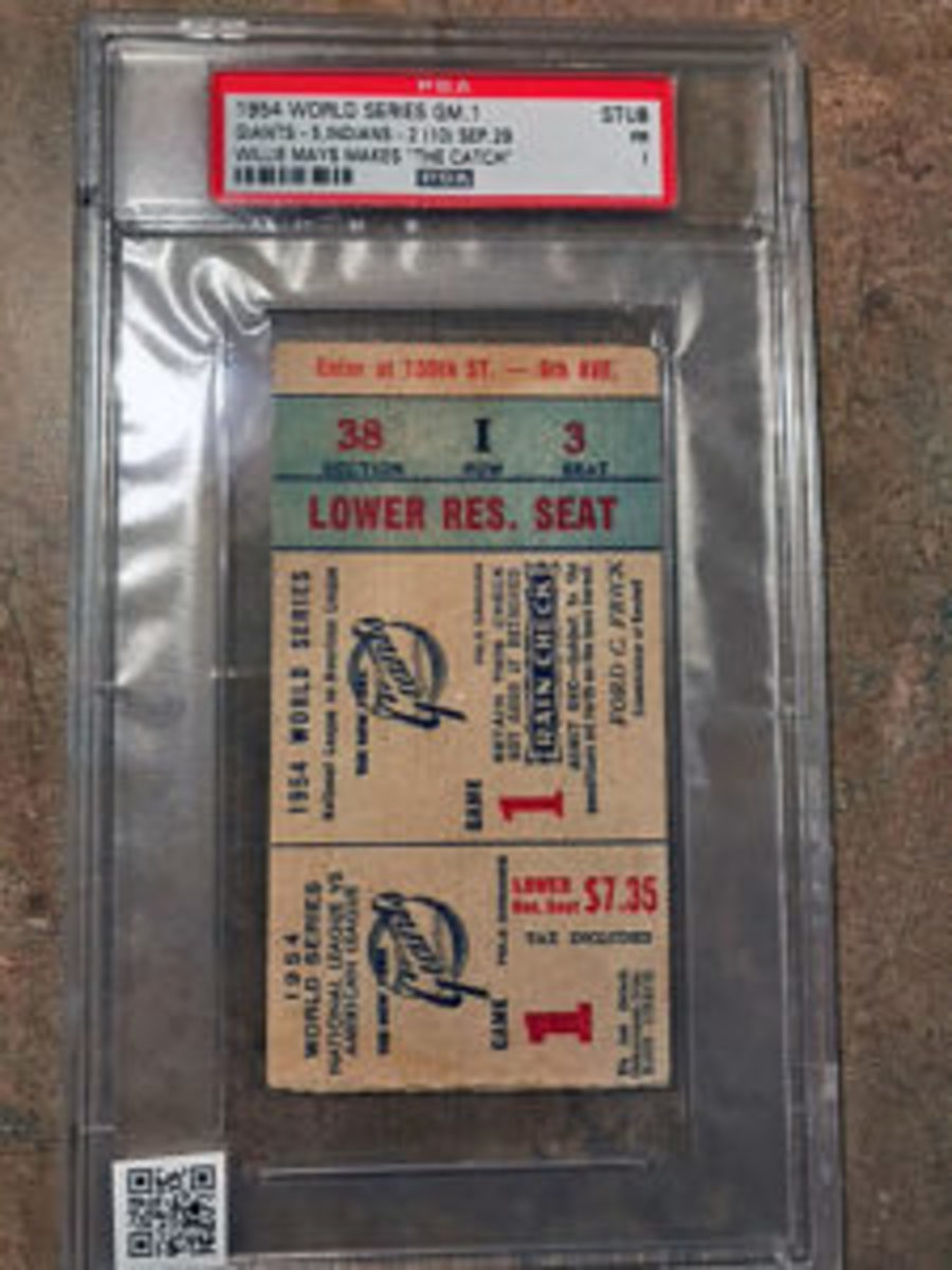 "Scanning the QR code on this graded ticket reveals Willie Mays' ""The Catch"" game from the 1954 World Series."