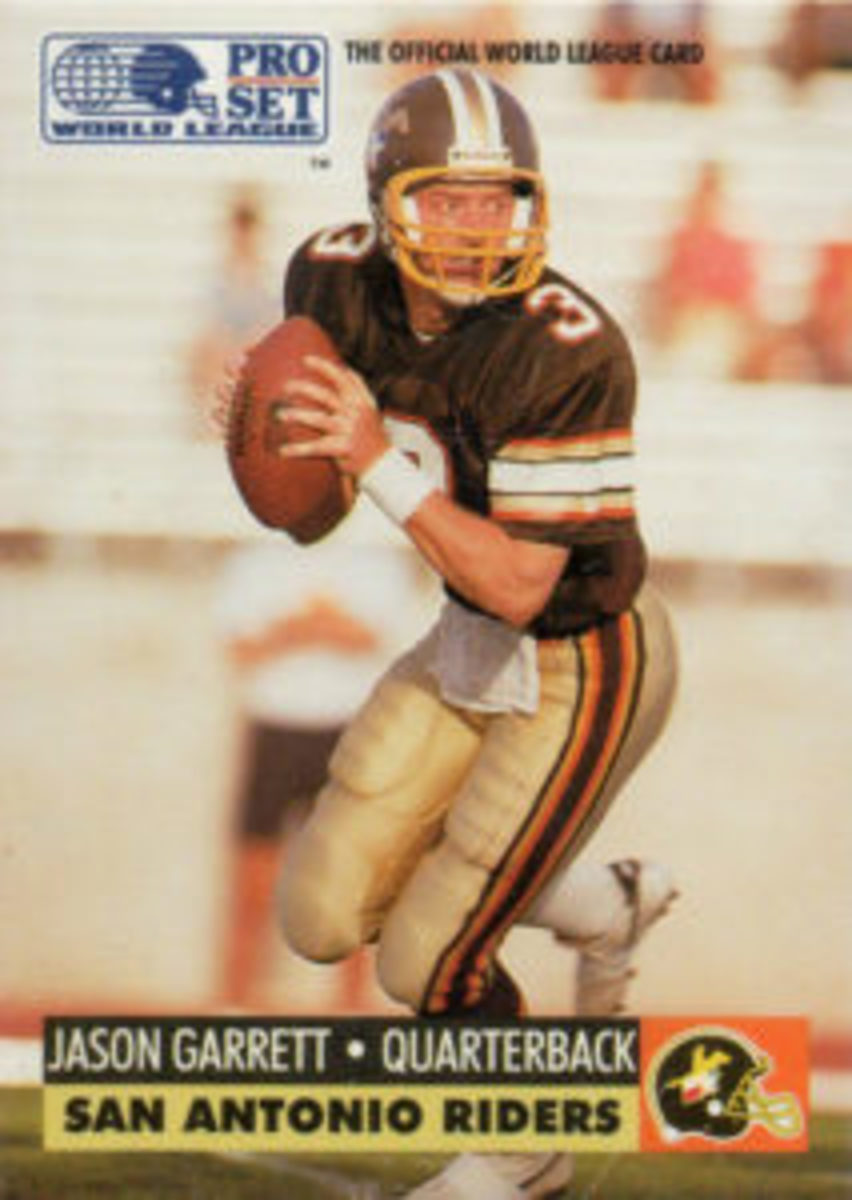Dallas Cowboys Head Coach Jason Garrett was featured on a football card when he played in the World League of American Football.