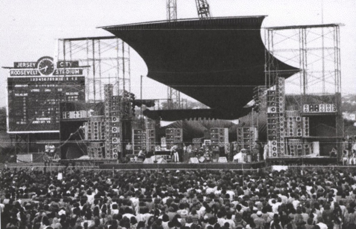 After professional baseball, Roosevelt Stadium became home to many big-name concerts. Here is a shot of the stadium filled with 1970s music-goers, with the scoreboard clock still in position.