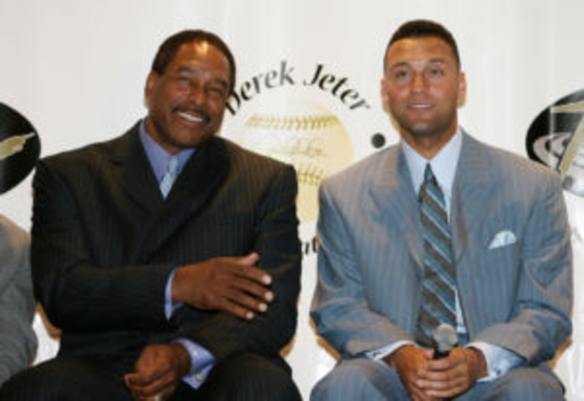 Dave Winfield and Derek Jeter during 10th Annual Derek Jeter Turn 2 Foundation Dinner - Press Conference at Marriott Marquis in New York City. (Photo by Marc Andrew Deley/FilmMagic)