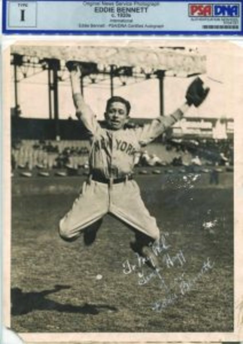 This photo of Eddie Bennett, who was the bat boy for the 1927 New York Yankees, was available in a Leland's auction in 2015. Bennett's signature is one of the toughest to find of those associated with the 1927 Yankees.