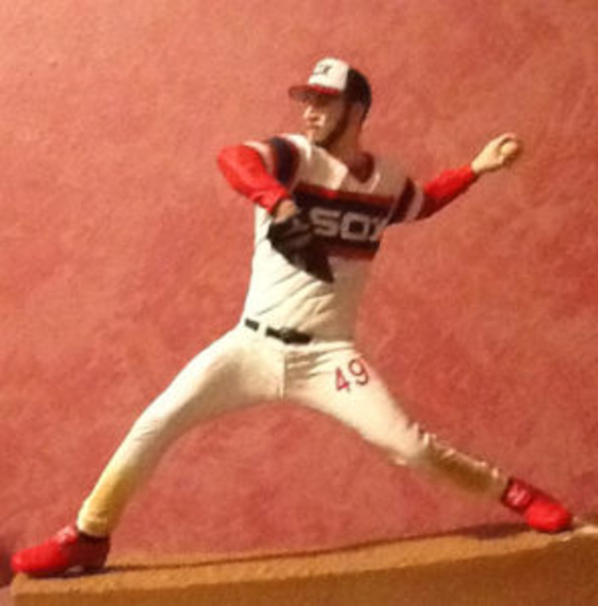 A custom baseball figure of former Chicago White Sox pitcher Chris Sale made by Alan Ithal.