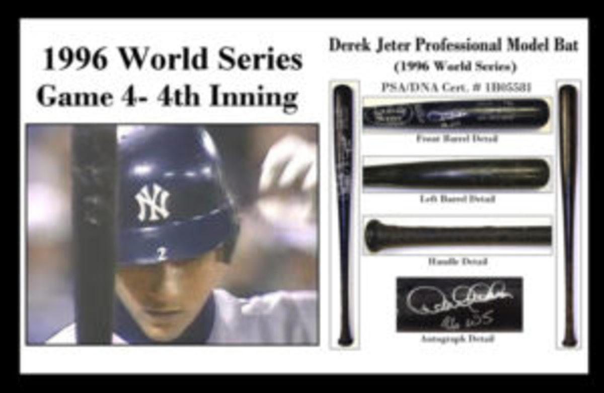 Here is the photo-matched 1996 World Series bat that Derek Jeter used in multiple games during that year's Fall Classic. It was also signed by Jeter.