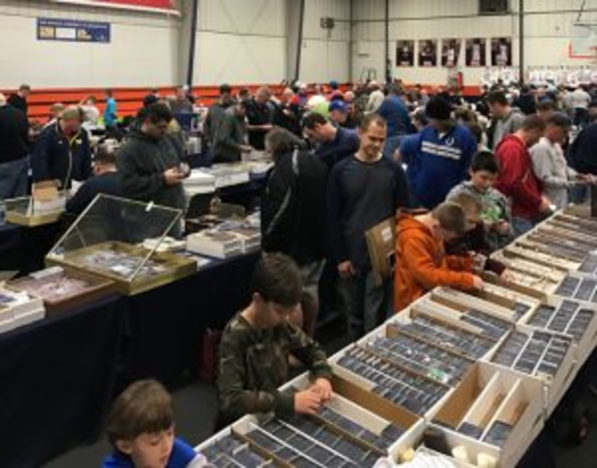Collectors of all ages peruse the sports cards and other sports items available at the Nashville Sports Cards and Collectibles Show in late February.