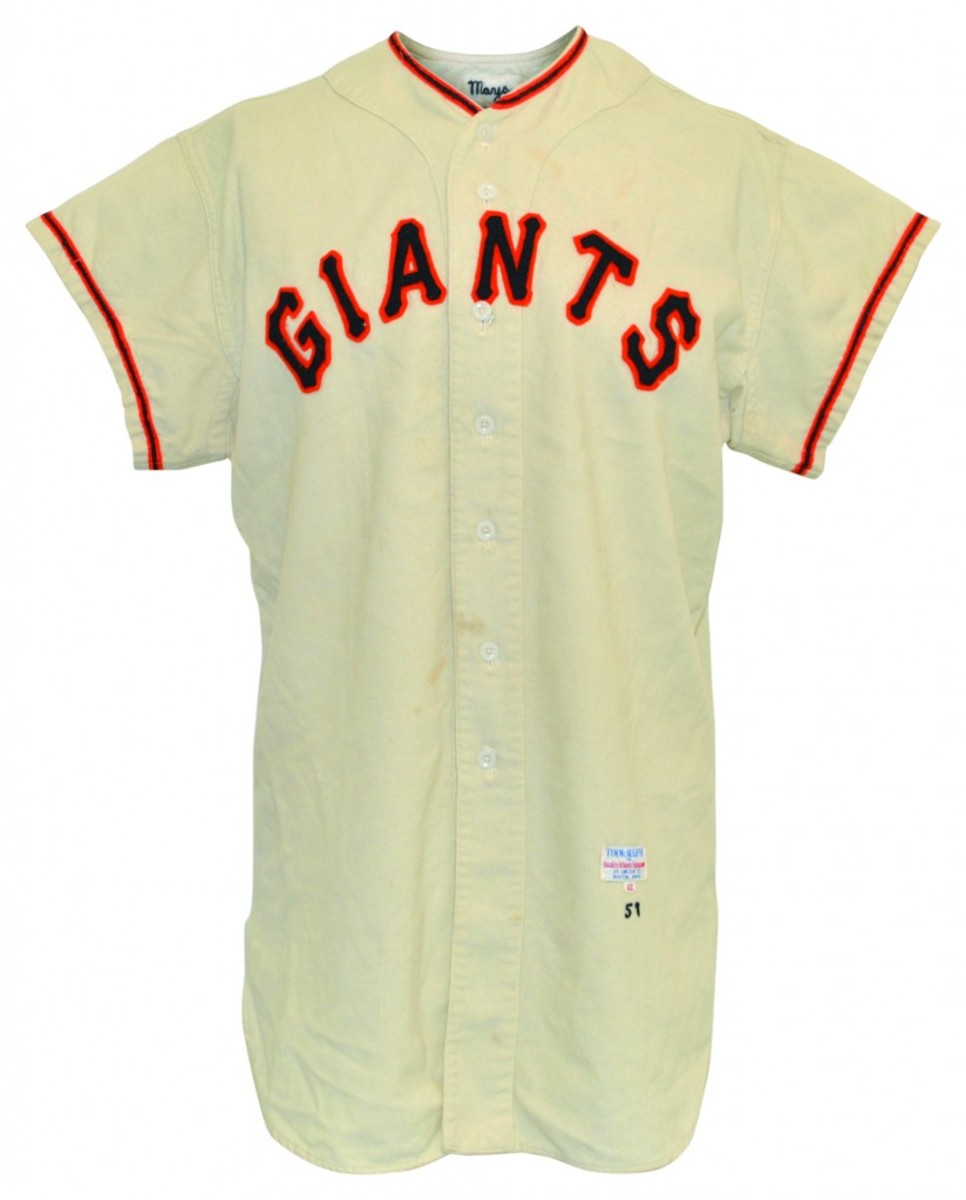 1957 Willie Mays New York Giants game-used home flannel jersey. Minimum bid: $25,000.