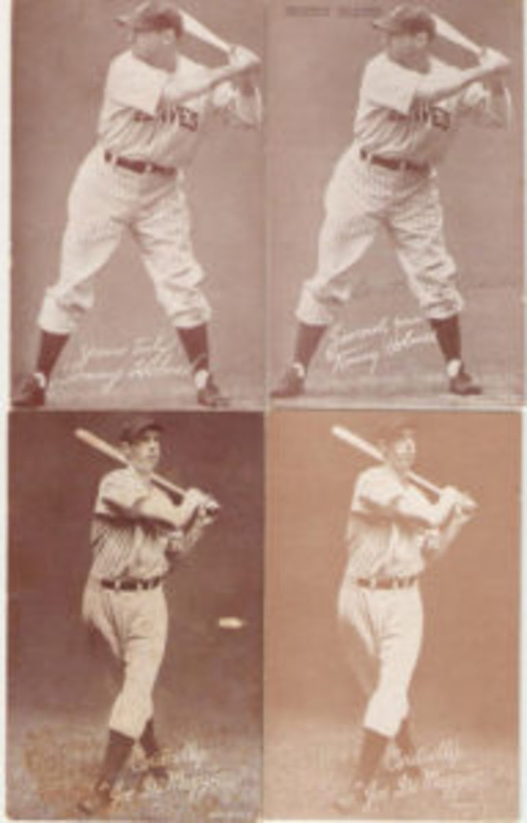 "Tommy Holmes changed the tune of his salutation from ""yours truly"" to ""sincerely yours."" Joe DiMaggio is printed with a red-brown ink."