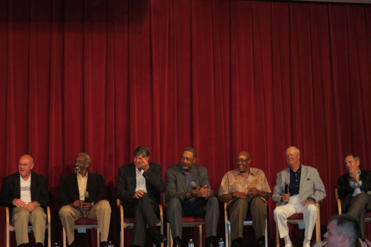 """Members of the ABA's Indiana Pacers participate in an Q&A session at the Dropping Dimes Foundation's Tip-Off Event and Fundraiser. From left to right: former players Billy Keller, Darnell """"Dr. Dunk"""" Hillman, Bob Netolicky, Mel Daniels, George McGinnis, coach Bobby """"Slick"""" Leonard and trainer David Craig."""
