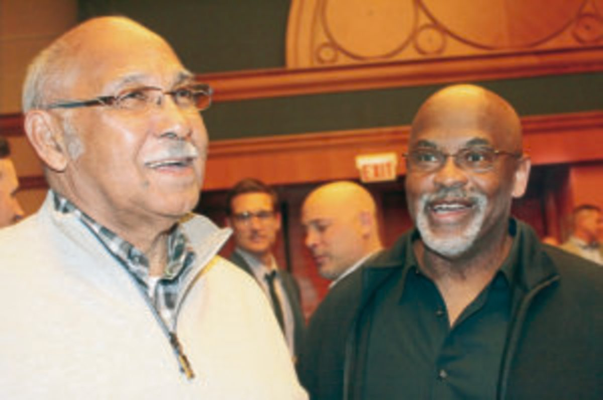 Former Cubs players Billy Williams (left) and Bill Madlock (right).