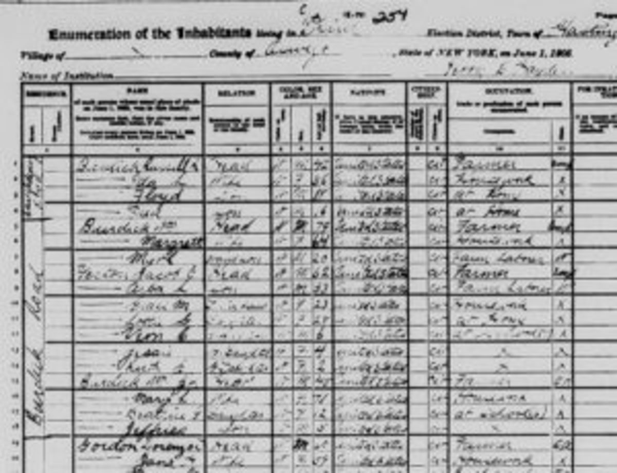 "The 1905 Census lists 11 Burdicks and seven Yertons on Burdick Road or nearby. ""Jeffries"" is living with his parents and sister. Jefferson Burdick's grandfather, William, is down the road and married a Yerton daughter who died in 1891. (Courtesy New York State Census)"