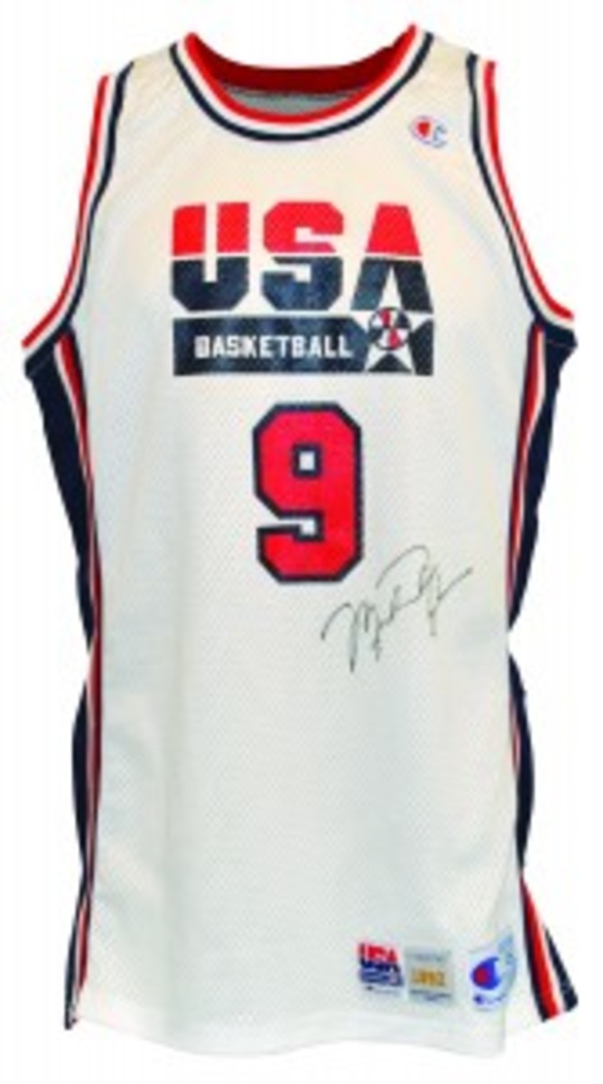 1992 Michael Jordan USA Olympics 'Dream Team' game-used and autographed home jersey. Minimum bid: $10,000.