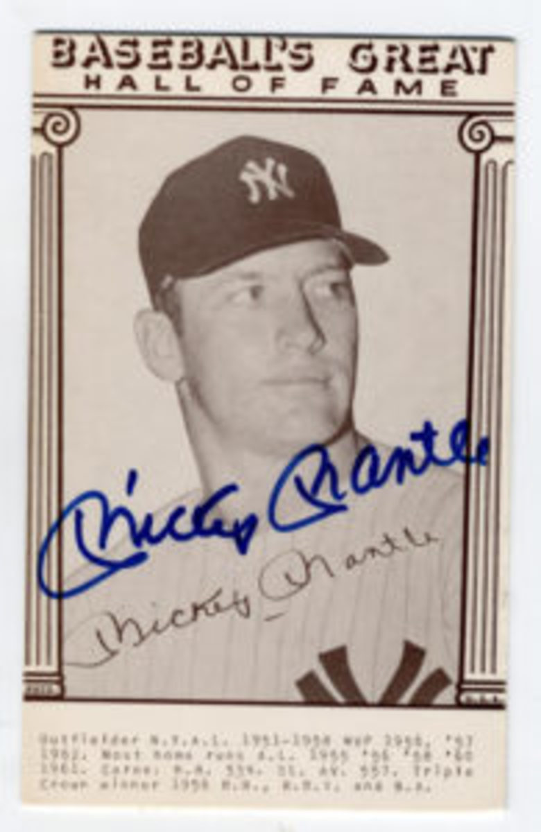 A nicely signed Mickey Mantle Hall of Fame exhibit card signed in the late 1980s.
