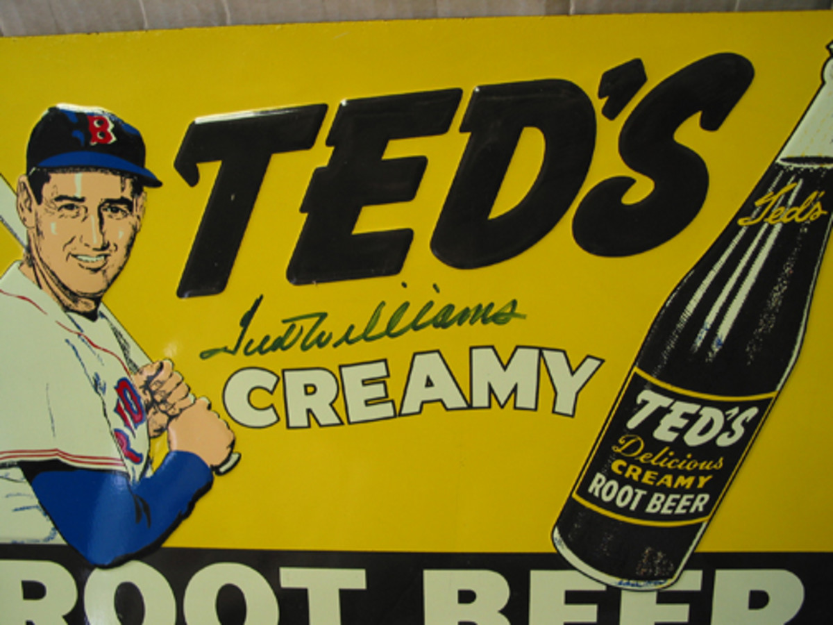 Ted Williams endorsed Ted's Root Beer when he was alive. But he did not endorse this fake signature of his name.