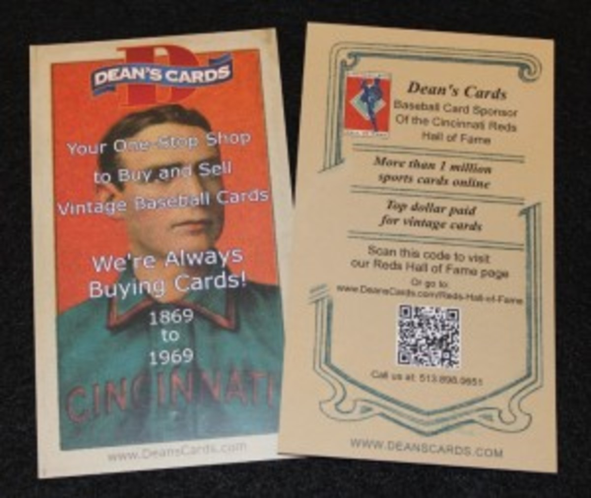 A handout given with each purchase at the HOF directing customers to Dean's Cards.
