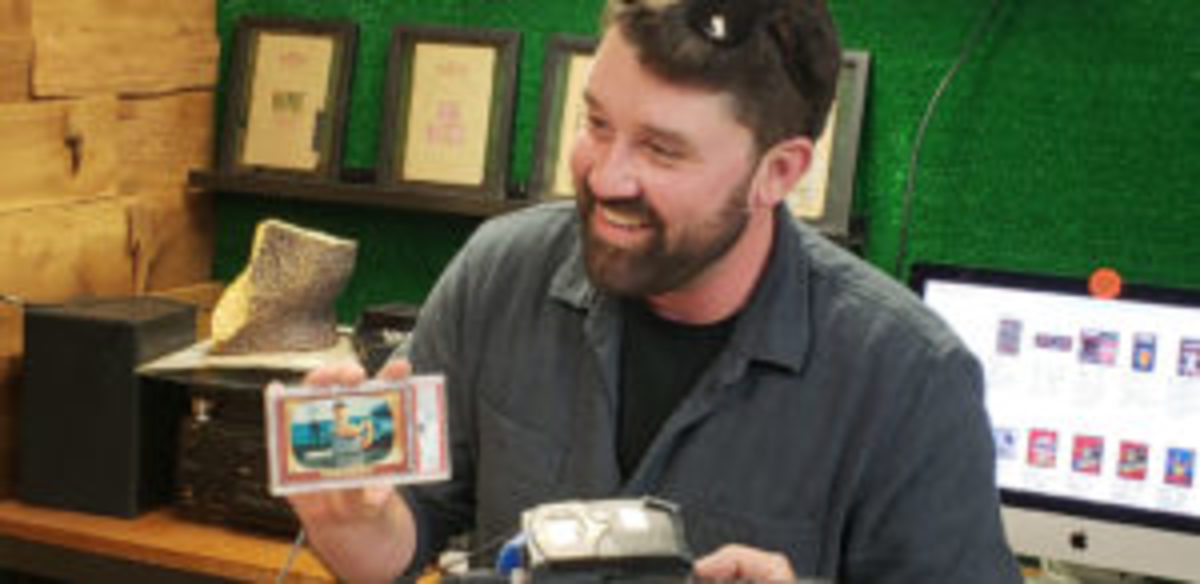 Chris Rothe was the lucky recipient of a 1955 Bowman Mickey Mantle card. The card was revealed in Rothe's spot in a pack break. It was later graded and received a grade of PSA 9. (Photo courtesy of VintageBreaks.com)