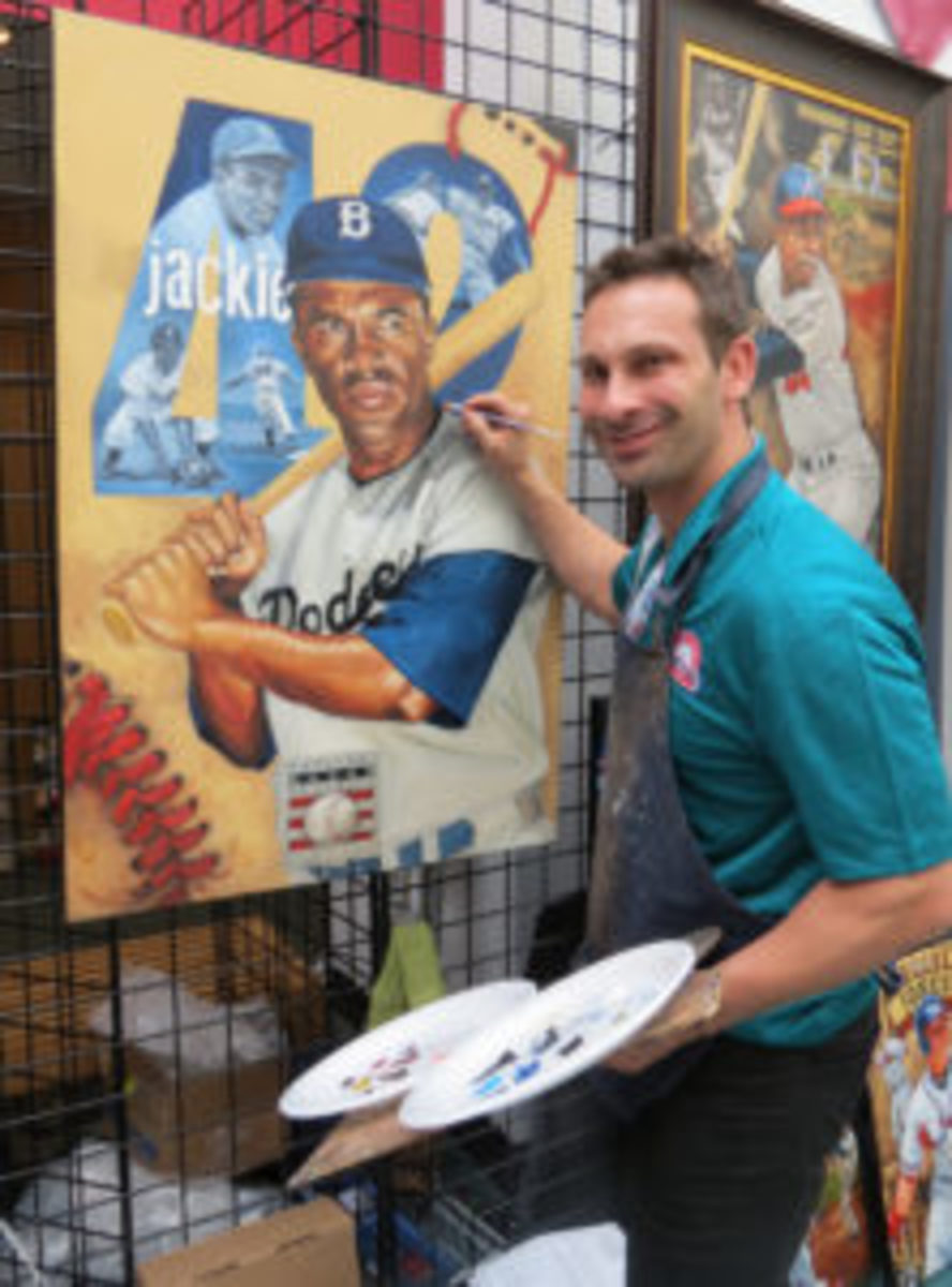 Artist Justyn Farano, a HOF licensee and sports art, creator was on site with a pop-up gallery of his work including a baseball piece he was creating in real-time. (David Moriah photo)