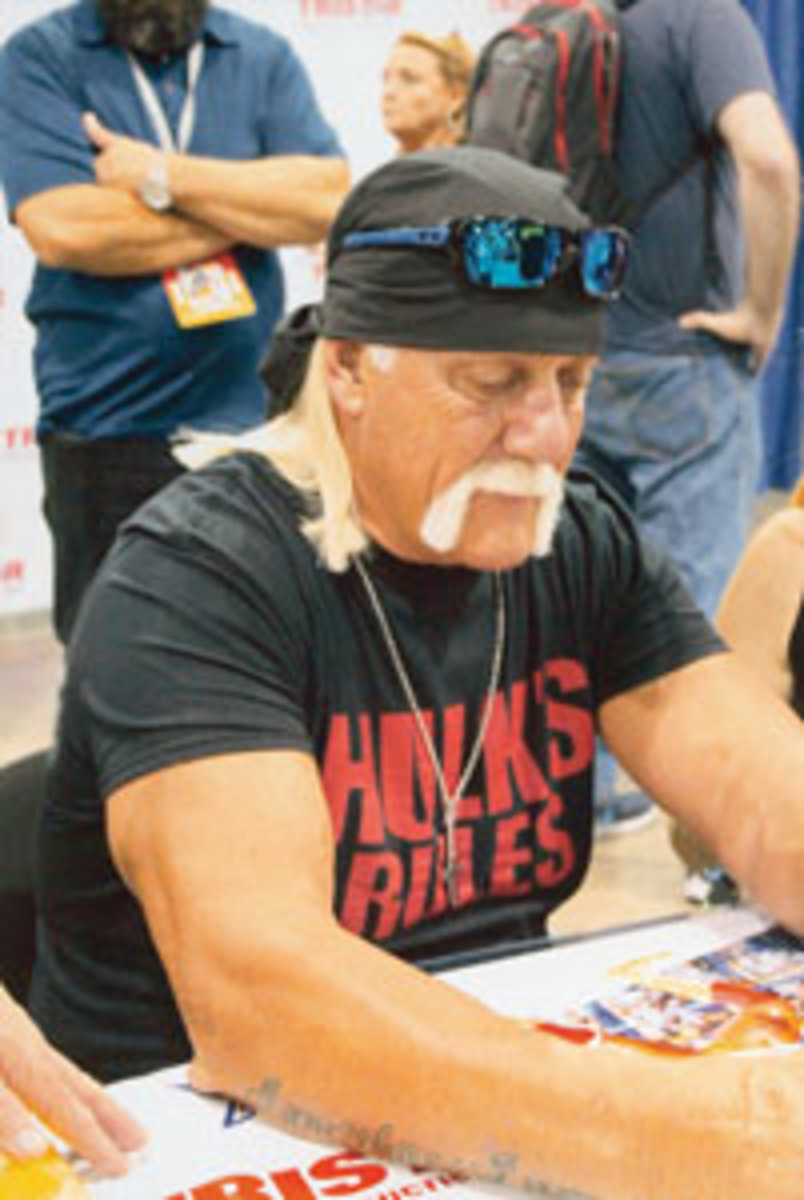 Hulk Hogan proved to be a fan favorite at the Tri-Star Autograph Pavilion, with a long line of Hulkamaniacs wrestling to meet their hero.