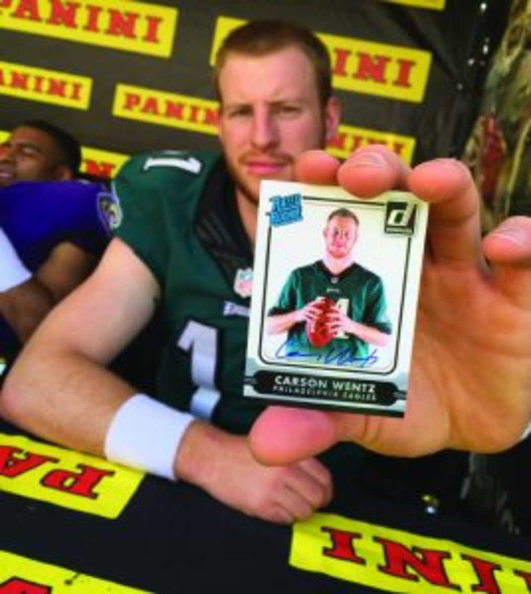 For football cards of the top two picks in the NFL Draft, look to Panini, which has the exclusive card license. Base cards will likely run under $10, with signed versions going into triple digits.