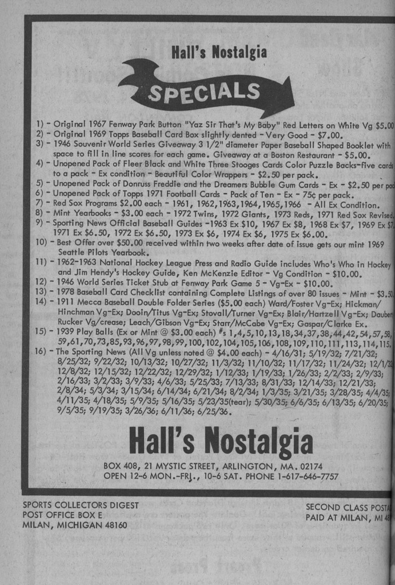 An example of a Hall's Nostalgia ad that ran in SCD in 1978.