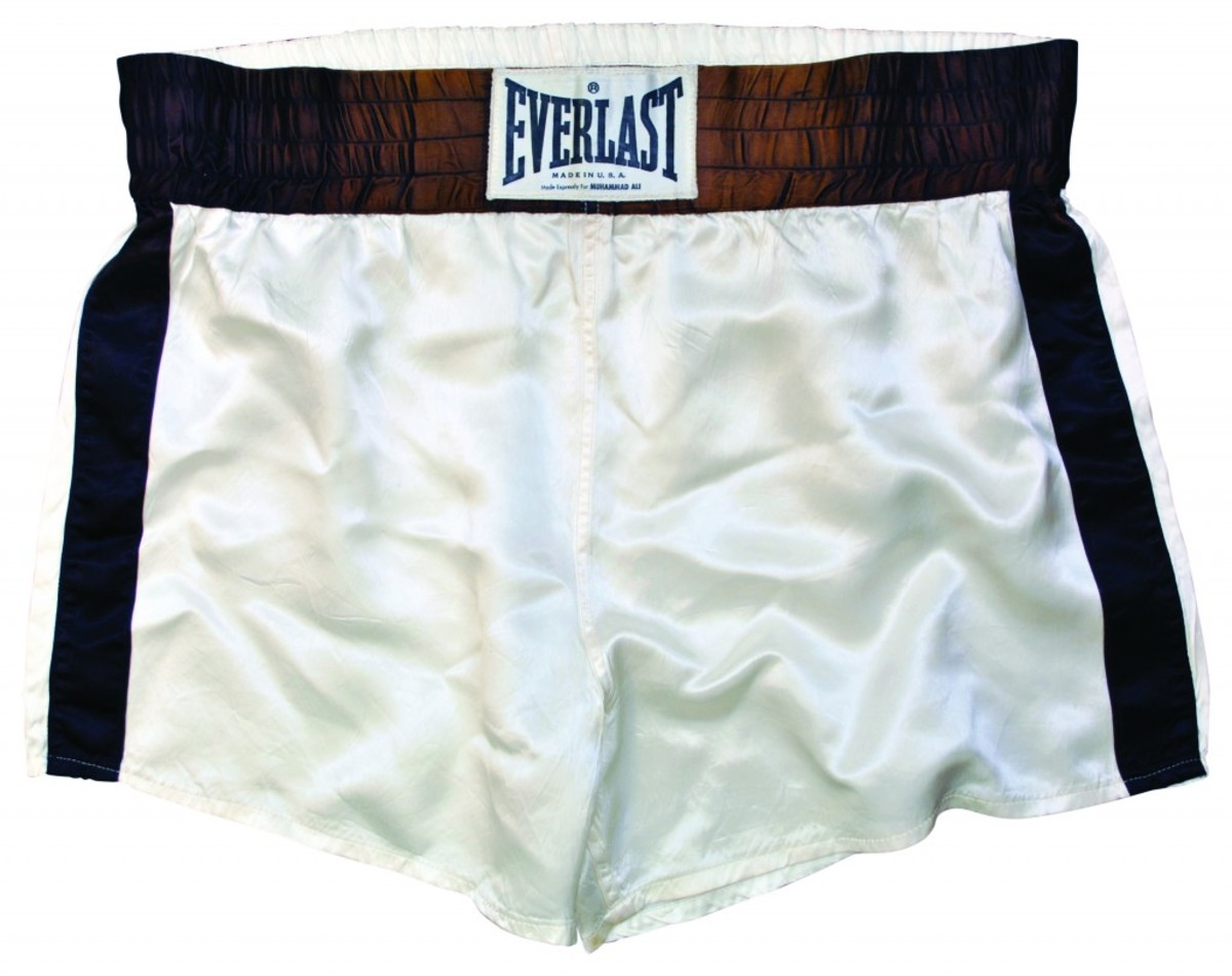 Muhammad Ali fight-worn trunks from historic 10/30/1974 'The Rumble in the Jungle' match against George Foreman, impeccable provenance. Minimum bid: $25,000. All images courtesy Grey Flannel Auctions