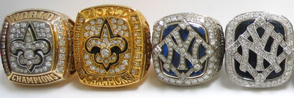Pictured: Authentic rings on the left, inexpensive replicas on the right.