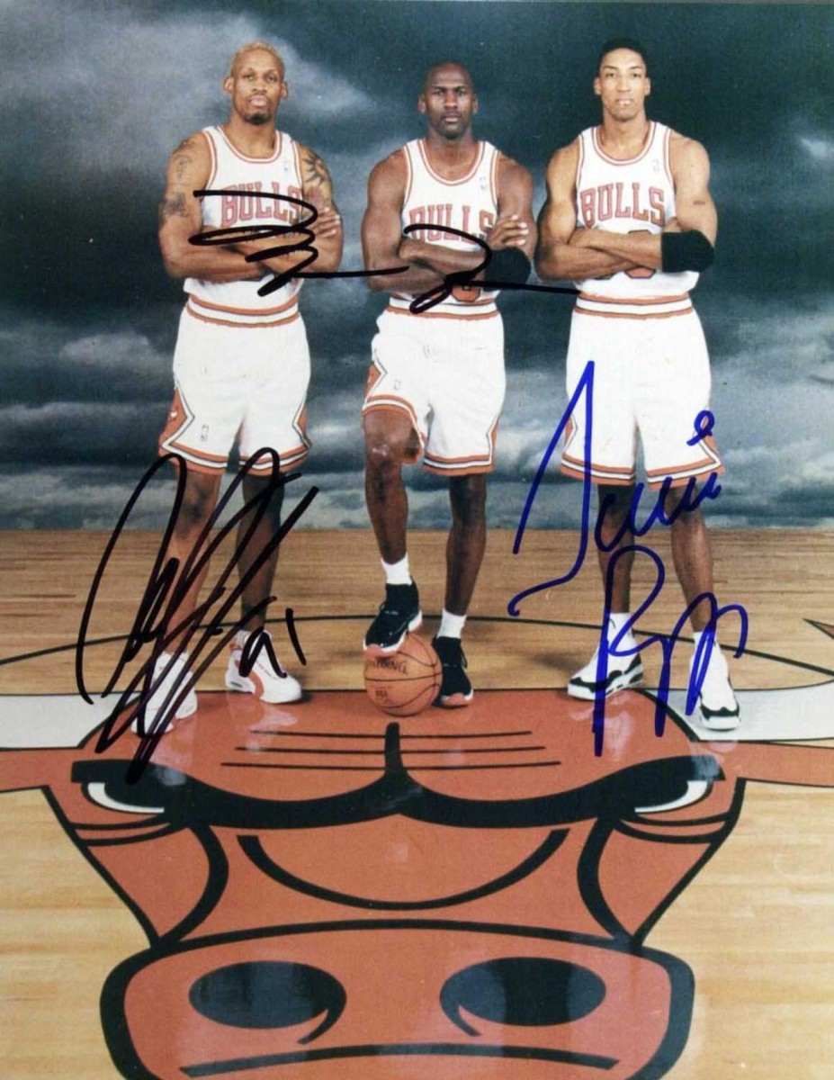 More forgeries: Dennis Rodman, Scottie Pippen, and the star of stars, Michael Jordan.